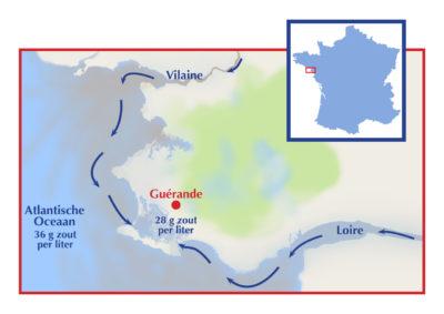 De zoutbassins vanwaar Keltisch zeezout afkomstig is, hebben te maken met de vervuiling van de Loire en de Vilaine.