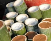Bamboo filled with sea salt ready for the first roasting.