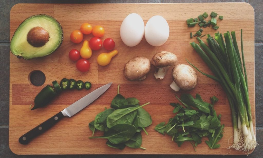 healthy food on cutting board for eternal youth