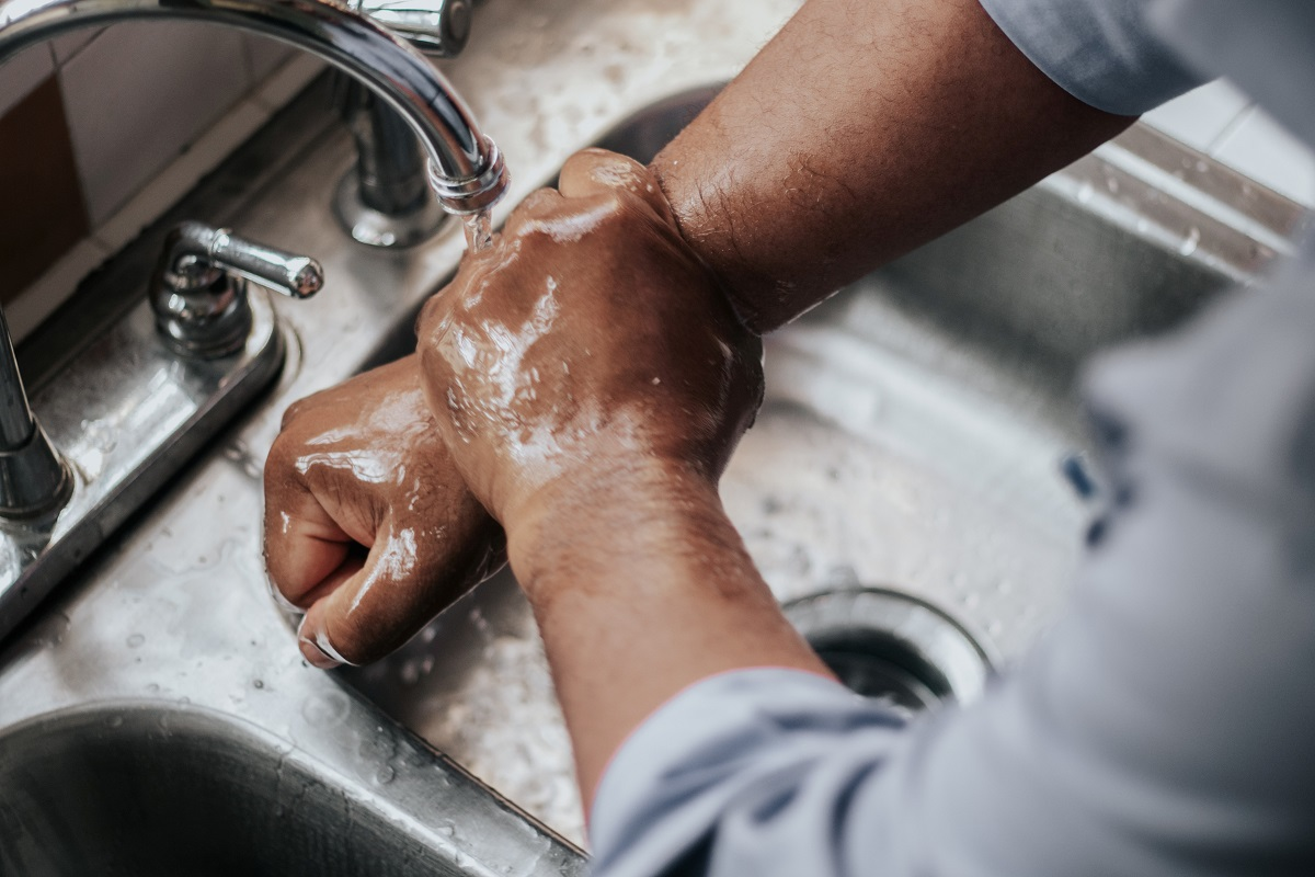 Wash hands with water and natural soap. Much healthier than disinfectant hand gels